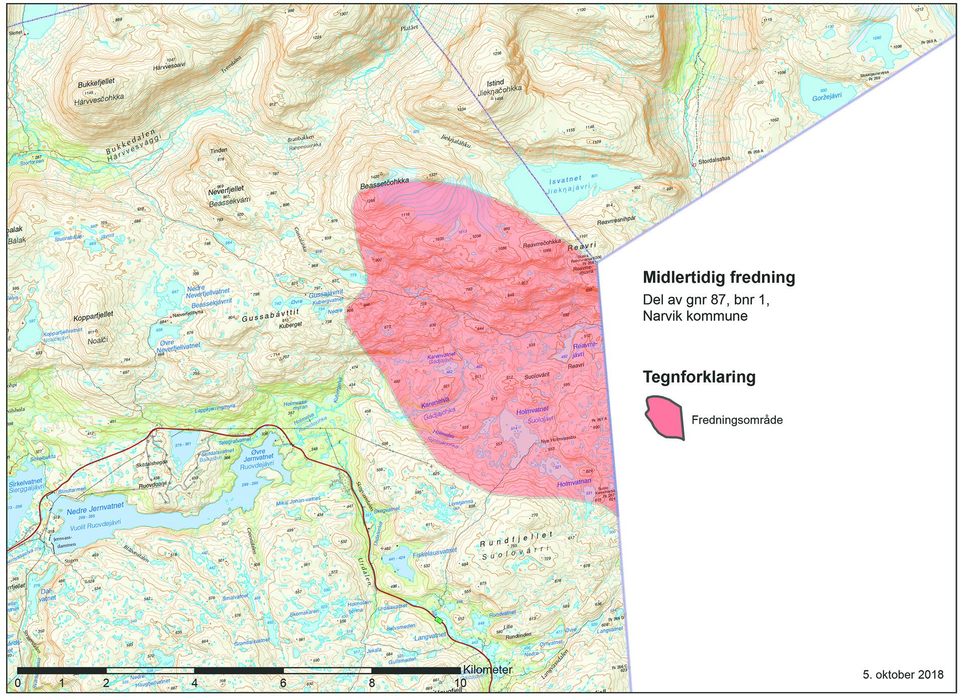 Illustrasjonen viser kart over midlertidig fredet område i Narvikfjella.