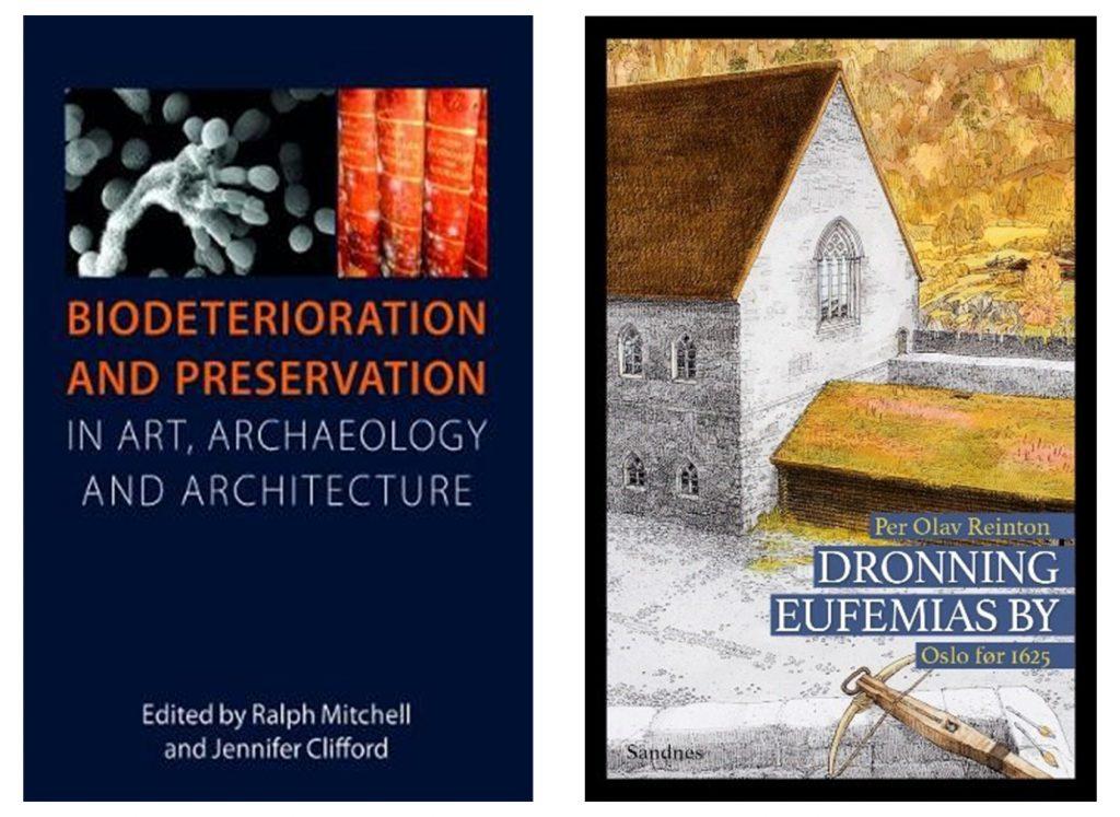 Bilde av to bøker Biodeterioration and preservation og Dronning Eufemias by
