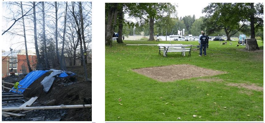 Sikring av trærnes røtter ved NMBU, Ås, og eksempel på skade fra midlertidig anlegg på plenen i en fredet park.