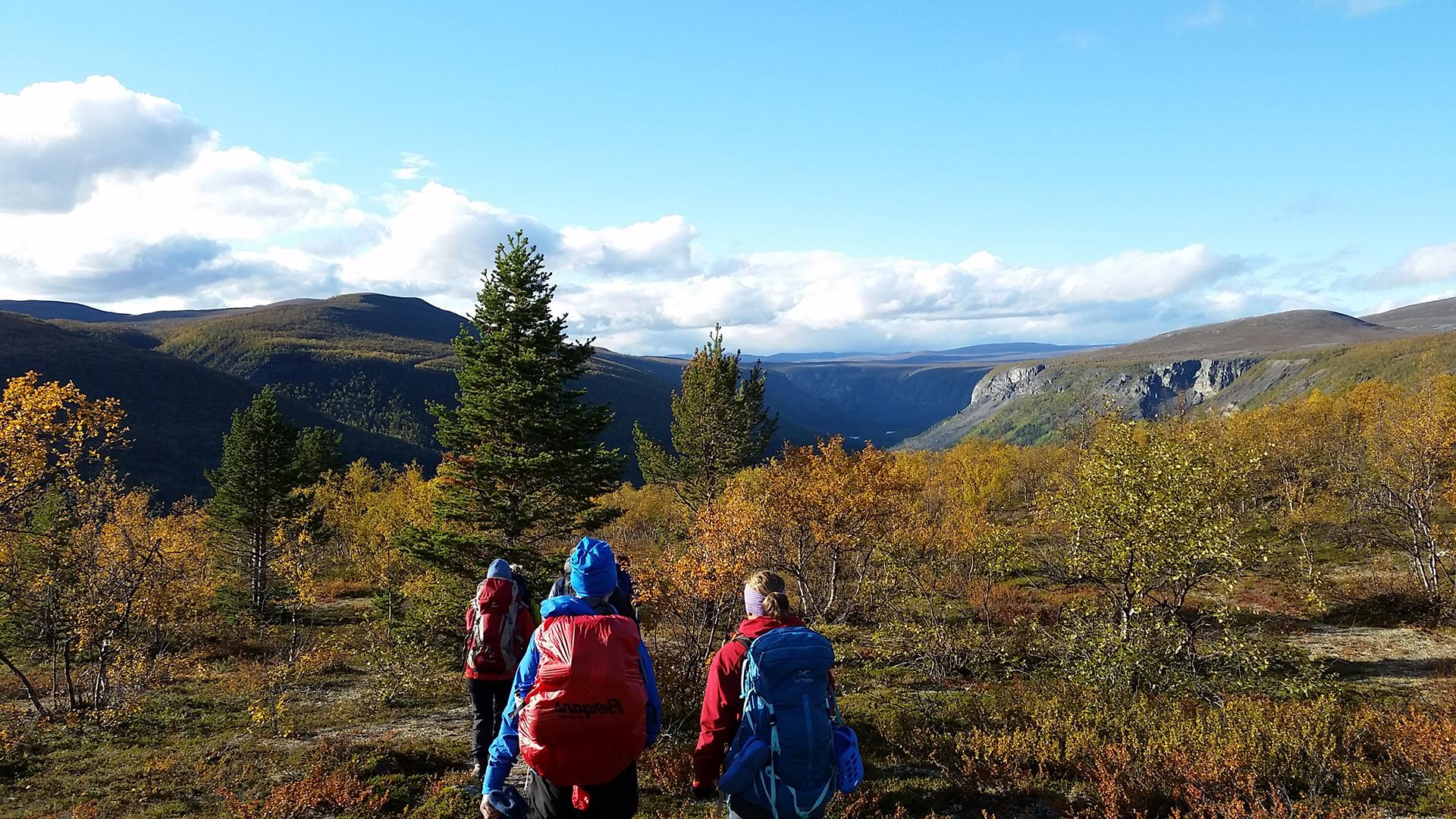 Bilde av utsikten nedover Reisadalen. Foto: Kristin Høidalen