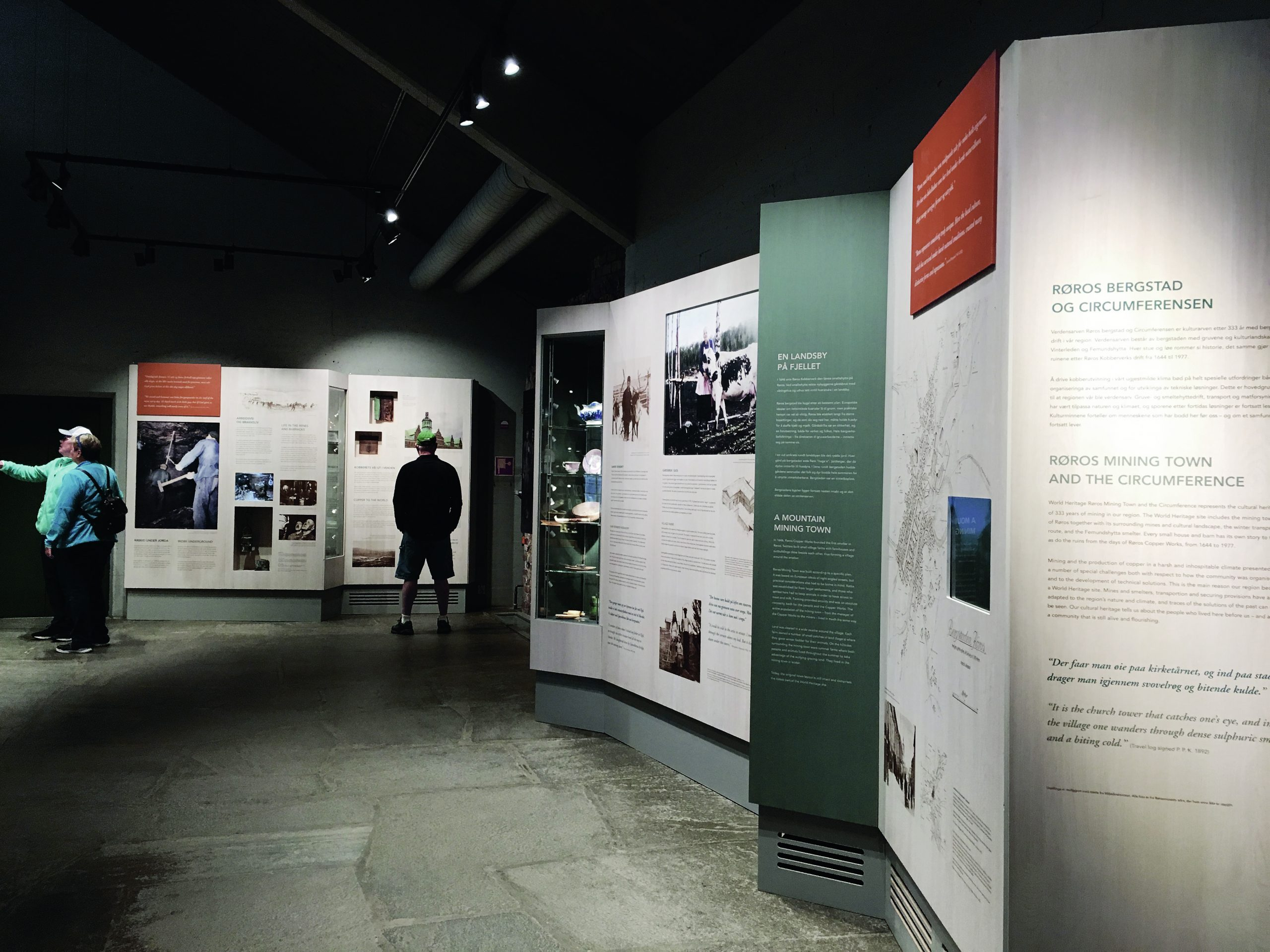bilde av utstillingen om verdensarven i Smelthytta i Røros. foto fra Rørosmuseet