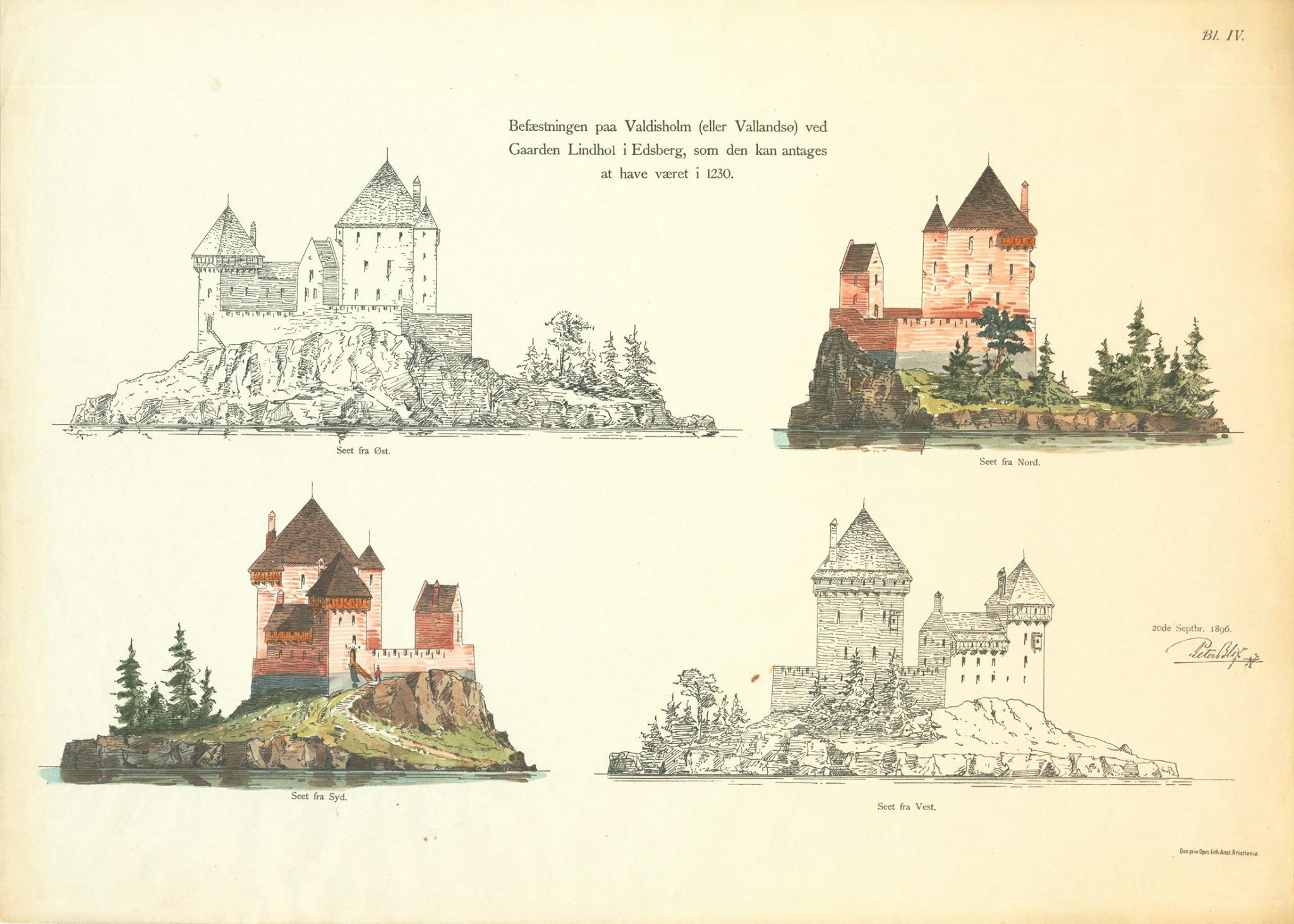 Tegning av Valdisholm borg