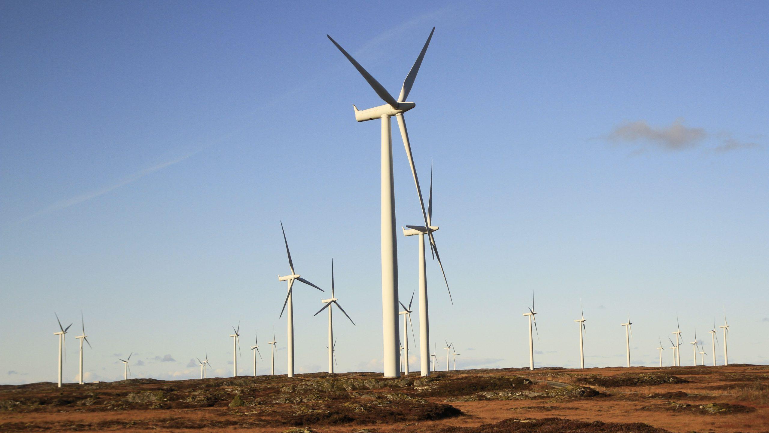 Illustrasjonsbilde av vindmøllene i Smøla vindpark. Foto av Jostein Gundersen, Riksantikvaren