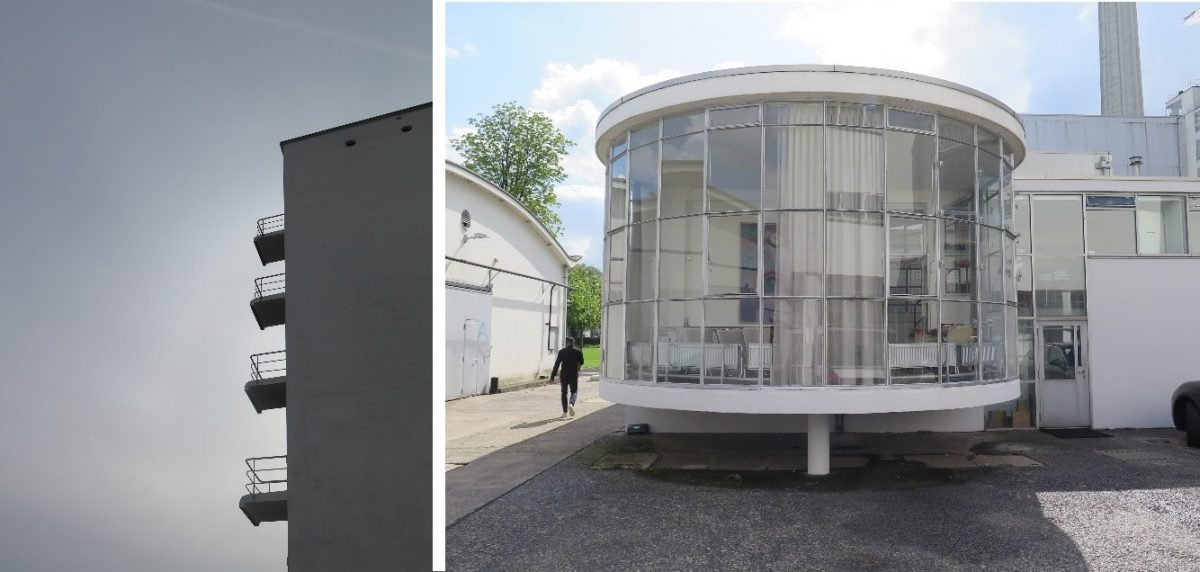 Bildet til venstre: Balkonger på Bauhausskolen i Dessau. Bildet til høyre: Pavilljong på Van Nelle fabrikken utenfor Rotterdam.