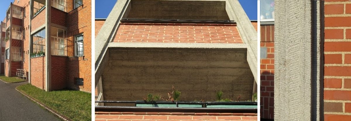 Eksempler på meislet betong på fasaden i et boligbygg