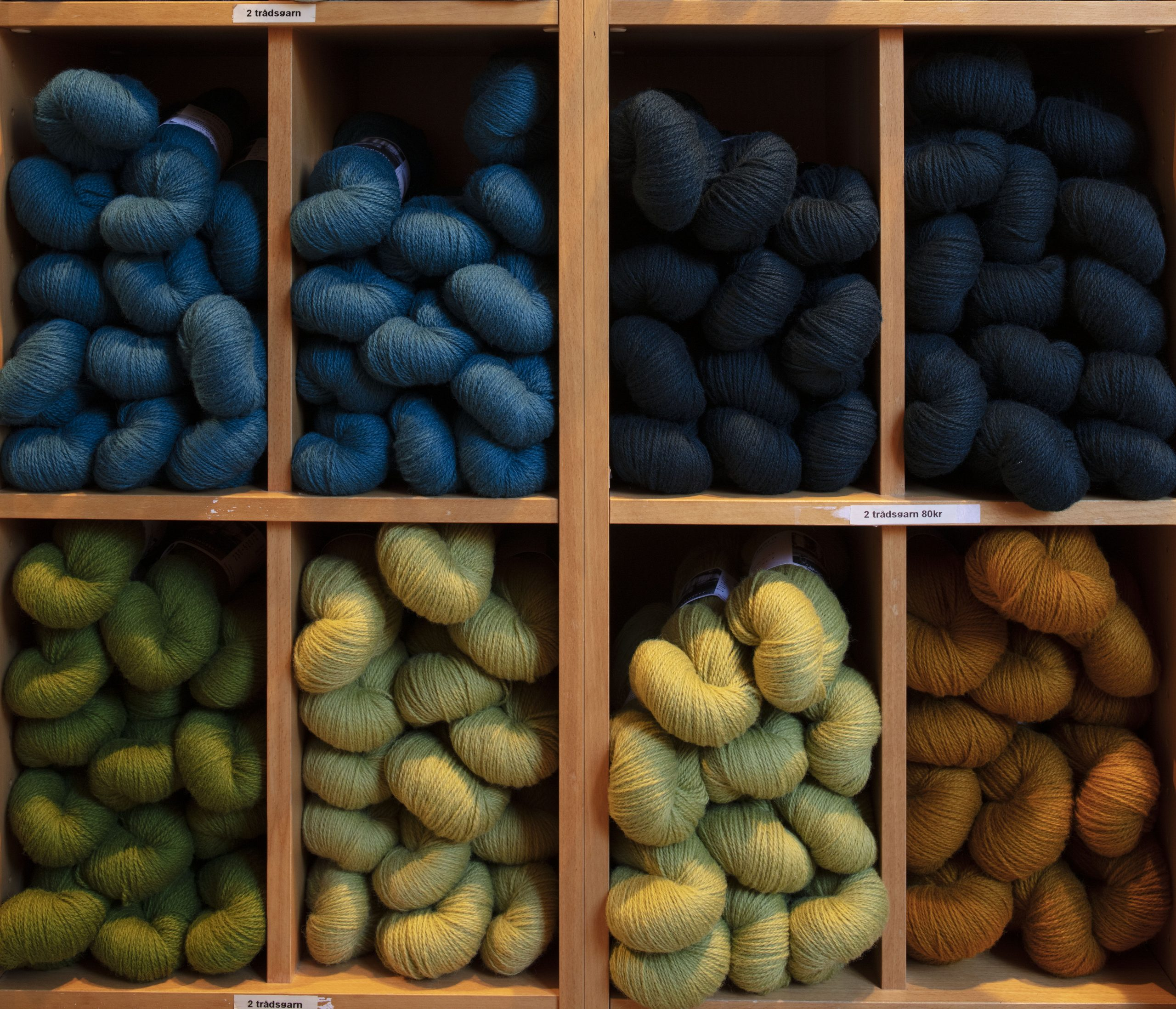 bilde av garn som er klare for salg. Foto: Trond Isaksen