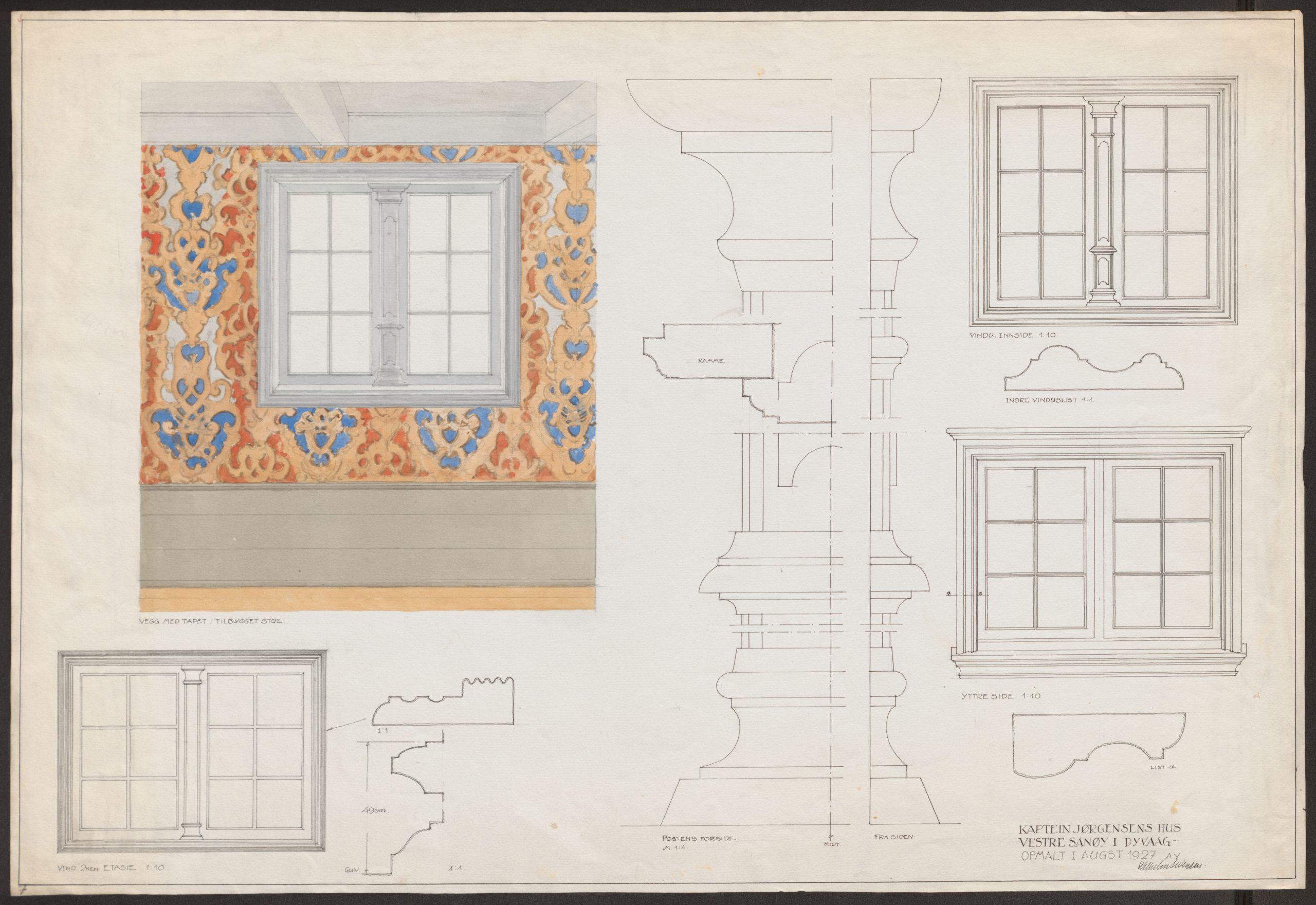 Tegning av vindusvegg med panel, tapet og vinduer