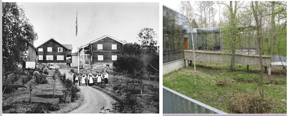 Foto av Sigrid Undsets hjem Bjerkebæk, Lillehammer, fra 1924 og med dagens inngangsparti på oversiden av bygningsmassen.