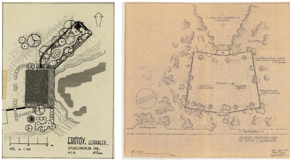 Magne Bruuns situasjonsplan over Grøtøy handelssted fra 1958 og Karens Reistads plan av 1953 for Tjøtta internasjonale krigskirkegård.