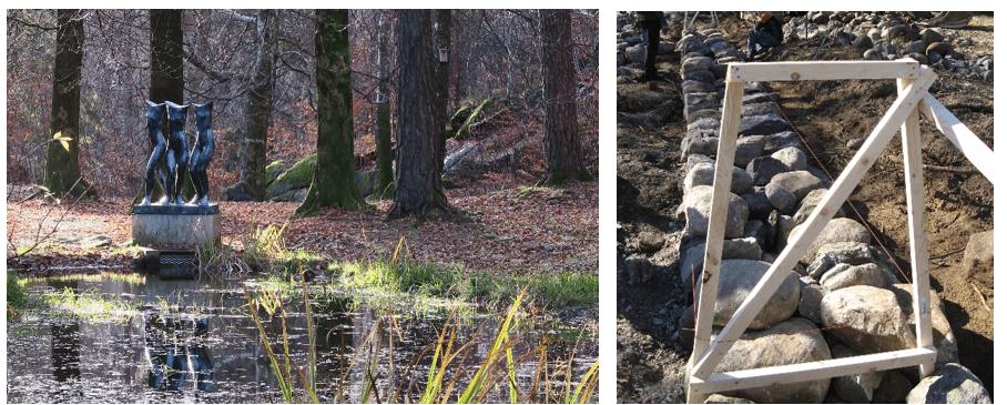 """Til venstre: Skulpturen """"Tre gratier"""" av Knut Steen ved den fredete Villa Midtås i Sandefjord. Til venstre: Et hagegjerde som måtte tas ned ved verneverdige Bremsnes gård på Averøy. Steingjerdet ble rekonstruert i 2009"""