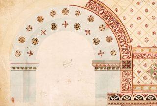 Fra Riksantikvarens arkiv. oppriss av korbuen i Hove kirke