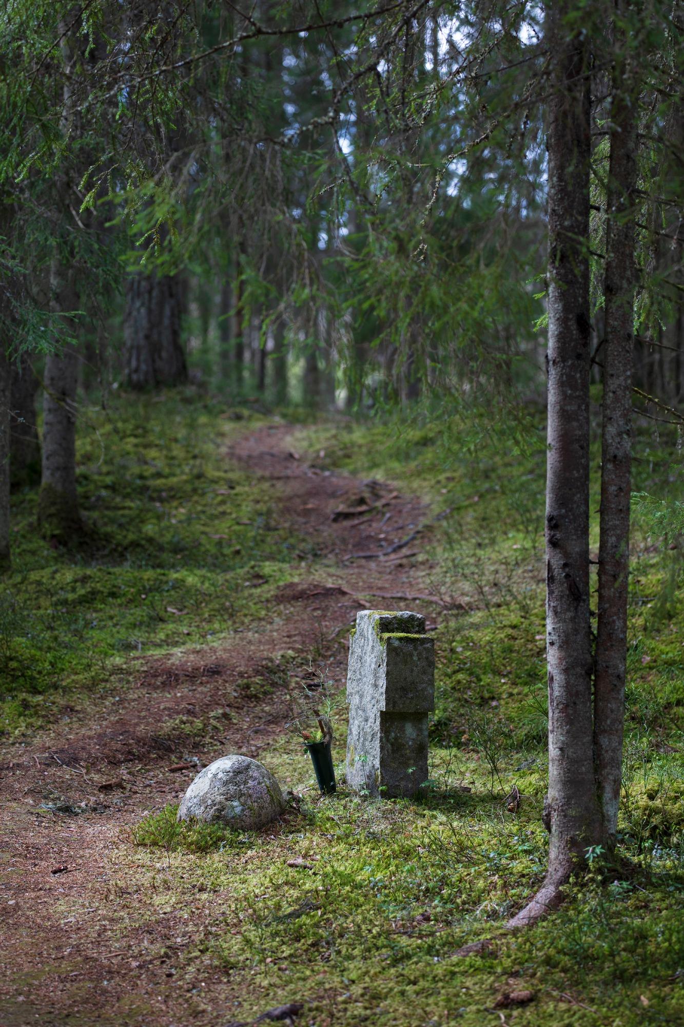 Gravmarkør i Trandumskogen