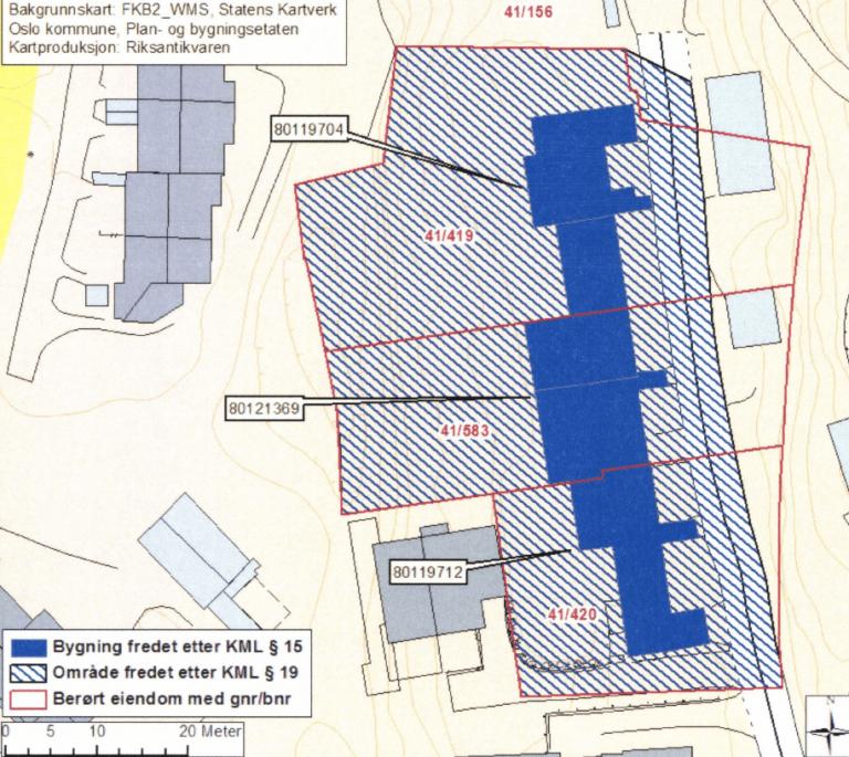 Kart over bygningene i planetveien