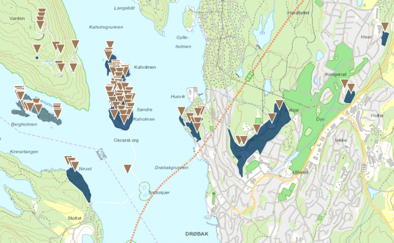 Kart over Oscarsborg festning