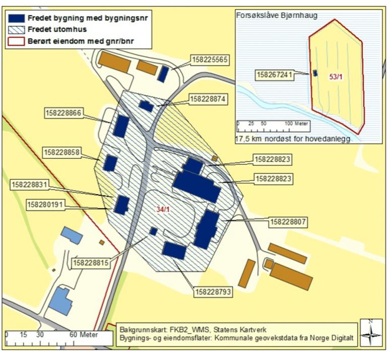 Kart over Løken gård