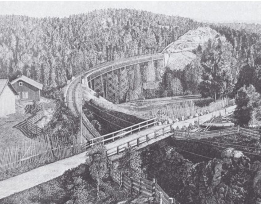 Tegning av Ljabru ca 1880. Illustratør ukjent