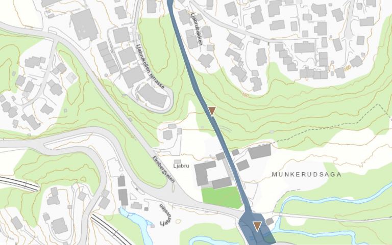 Kart over Ljabrubakken og Ljabru bru