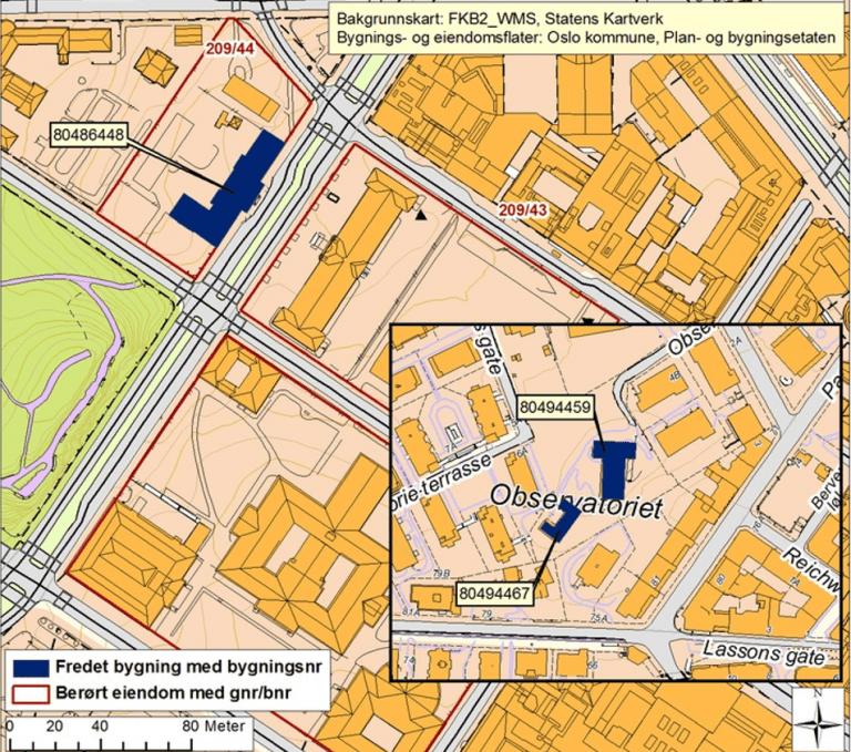 Kart over Observatoriet i Oslo
