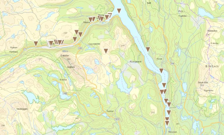 Kart over Rjukanbanen