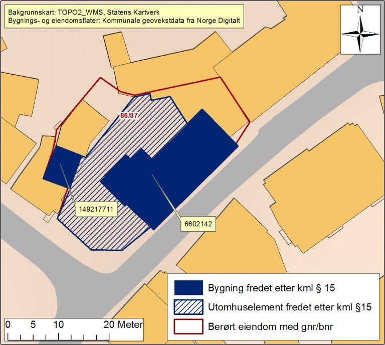 Kart over handelshuset i Drøbak