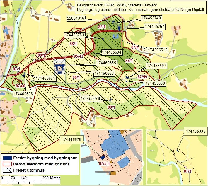 Kart over Rosendal