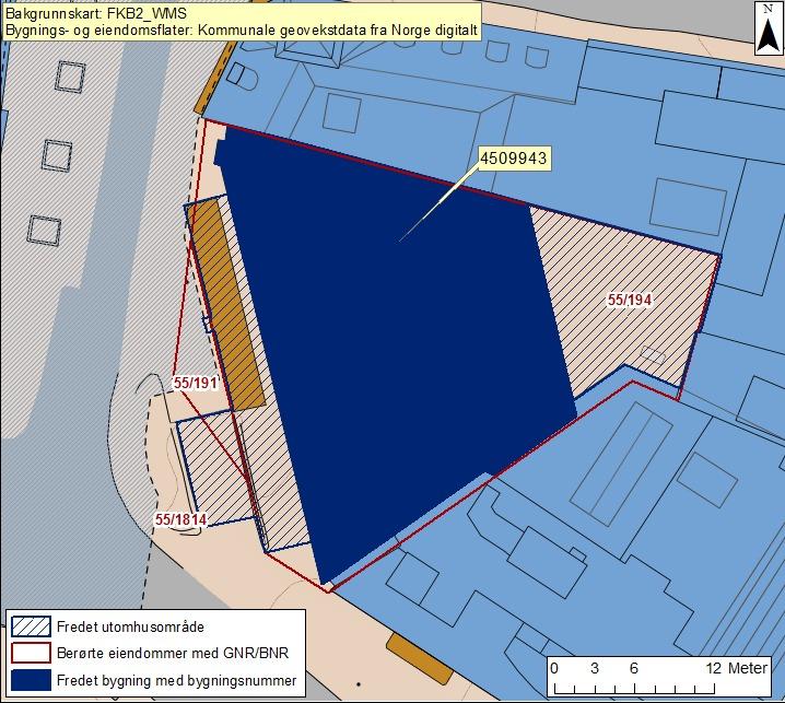 Kart over Domkirkeplassen og Norges bank