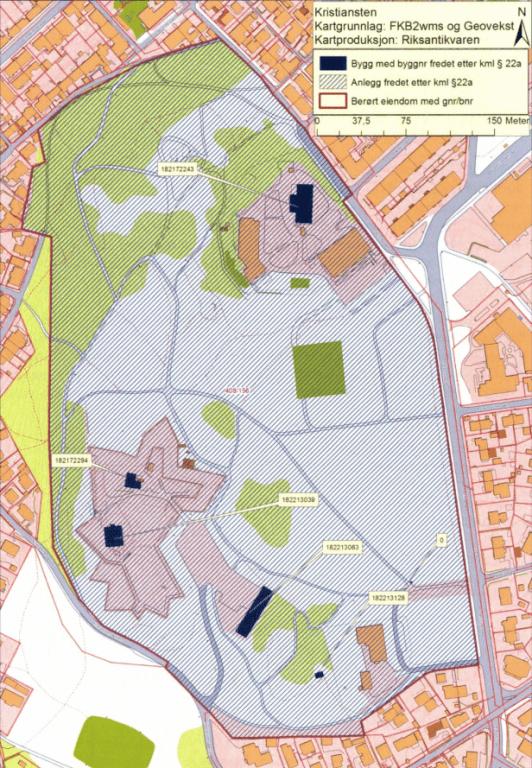 Kart over Kristiansten festning
