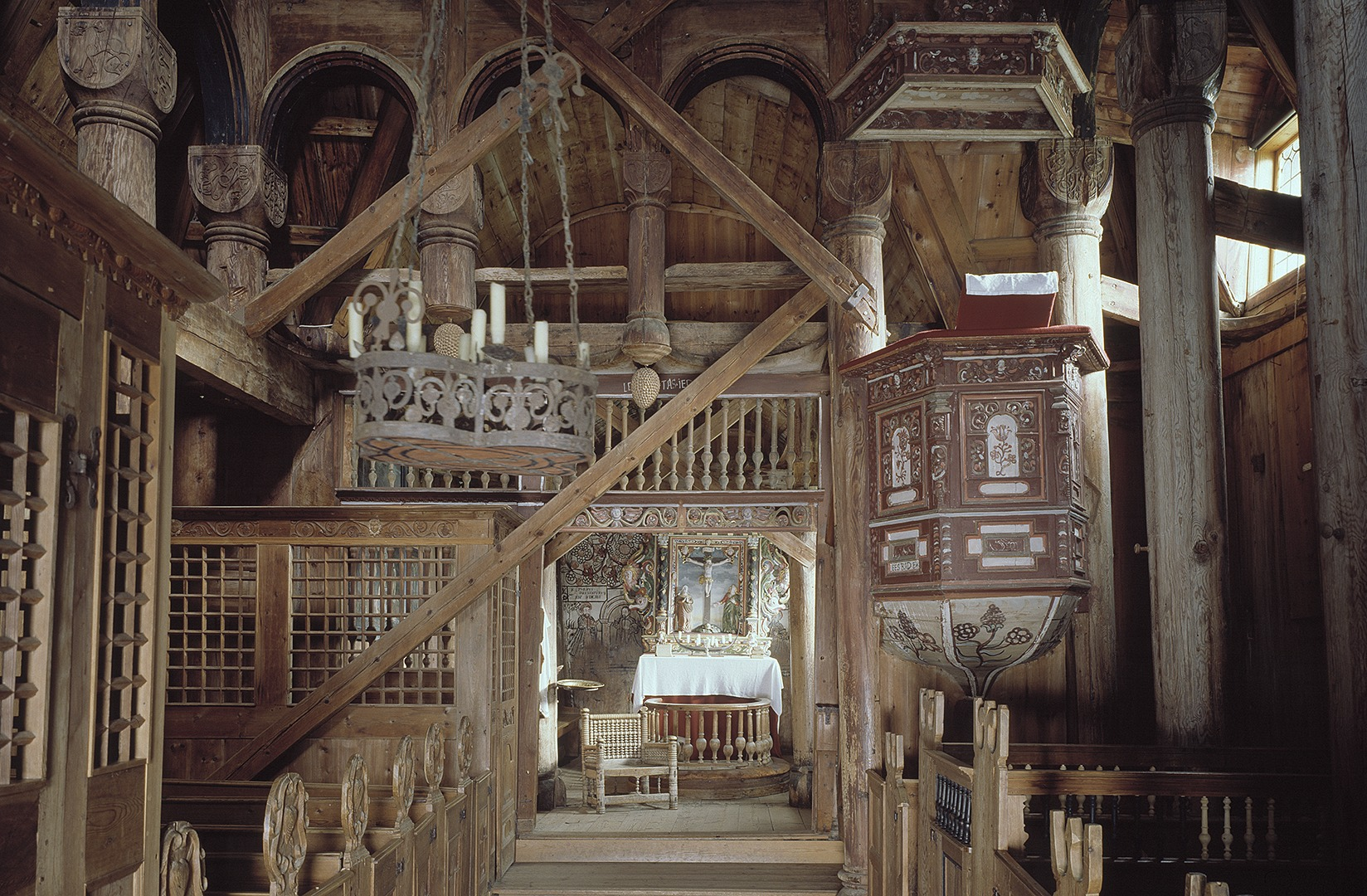 Picture of the interior of Urnes Stave Church. Photo by Jiri Havran, the Directorate for Cultural Heritage