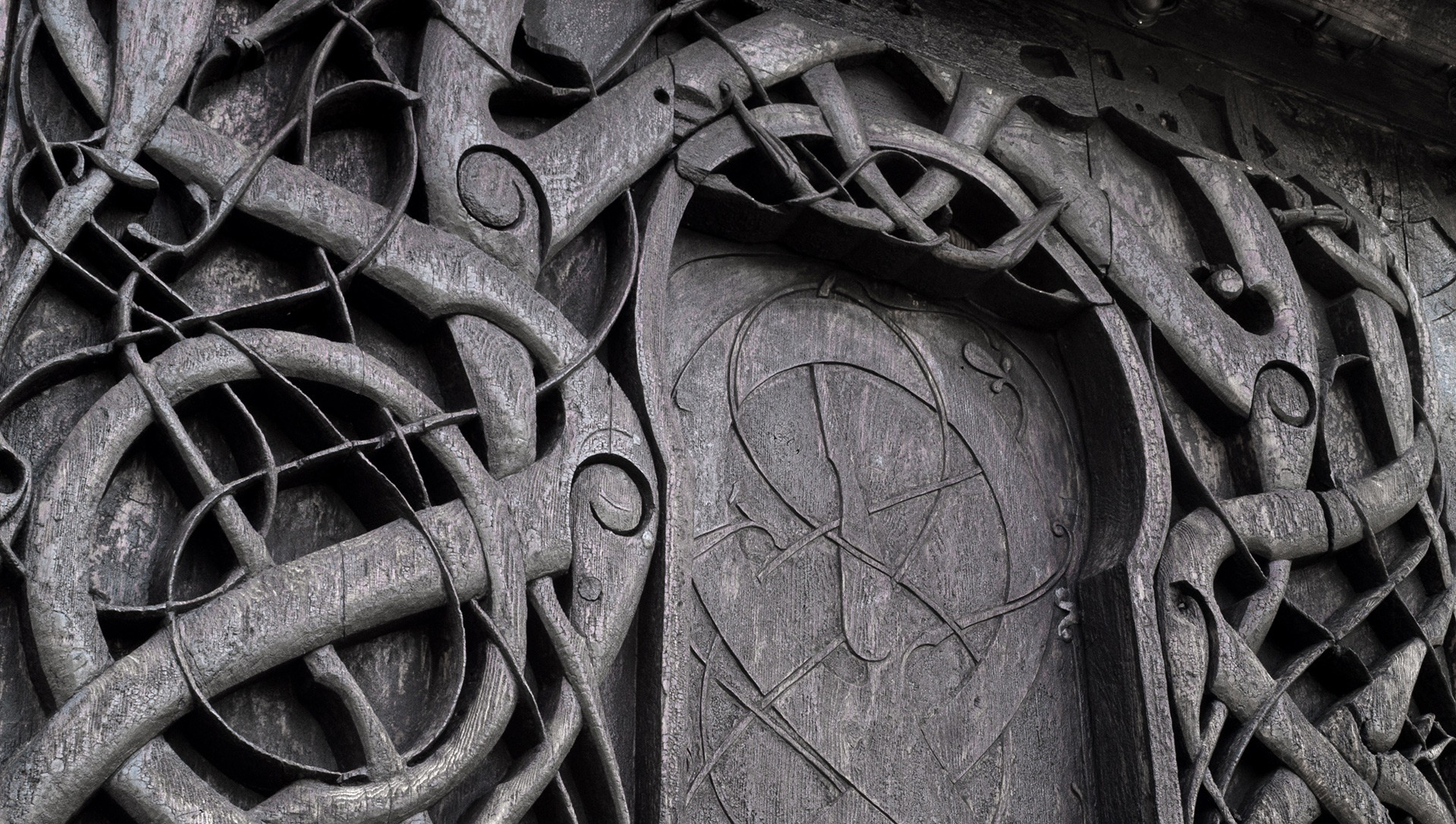 Picture of the doorway of Urnes Stave Church. Photo by Ragnar Utne, the Dircetorate for Cultural Heritage
