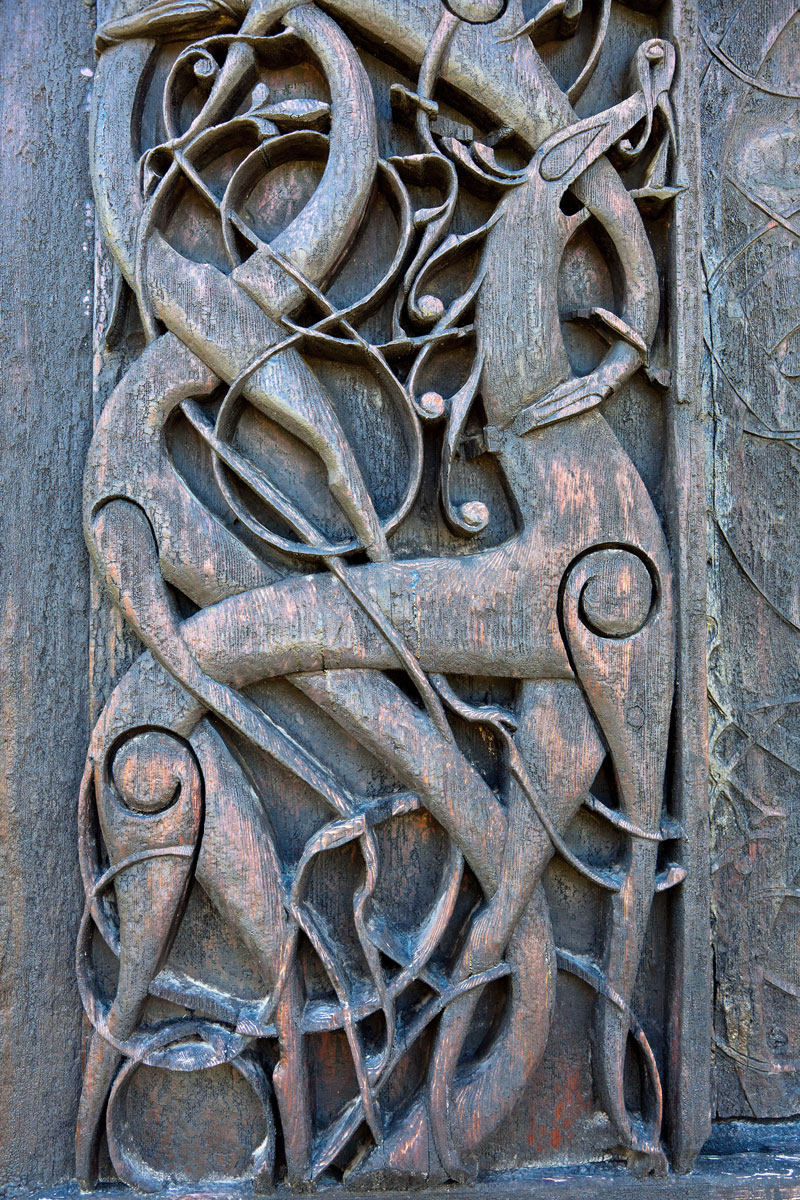 Picture of the doorway of Urnes Stave Church. Photo by Arve Kjersheim, the Directorate for Cultural Heritage