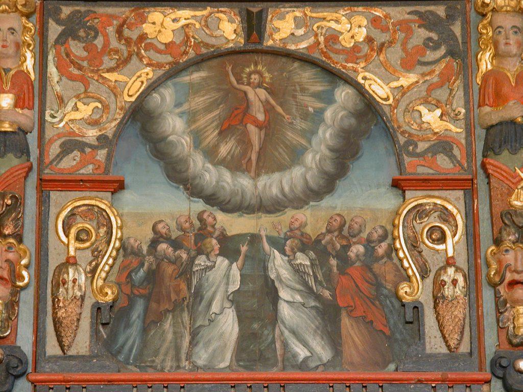Himmelfarten på altertavlen fra 1725 i Råde middelalderkirke.
