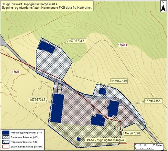 kart som markerer fredningsområdet av Breie Gård